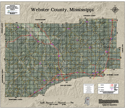 Webster County Mississippi 2017 Aerial Wall Map