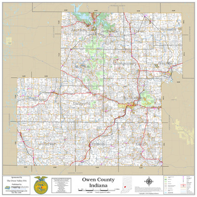 Owen County Indiana 2018 Wall Map Mapping Solutions
