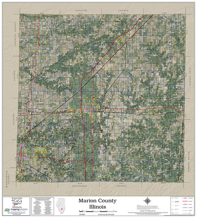 Marion County Illinois 2018 Aerial Wall Map
