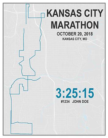 11 x 14 Street Art Personalized Marathon Map