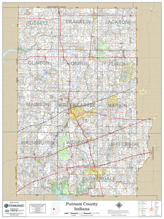 Putnam County Indiana 2018 Wall Map Mapping Solutions