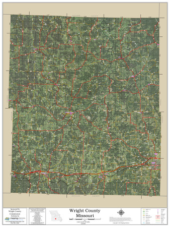 Wright County Missouri 2019 Aerial Wall Map