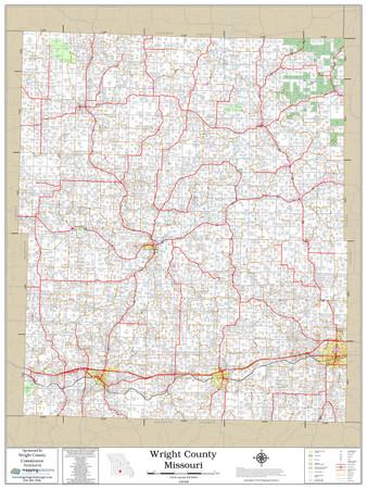 Wright County Missouri 2019 Wall Map
