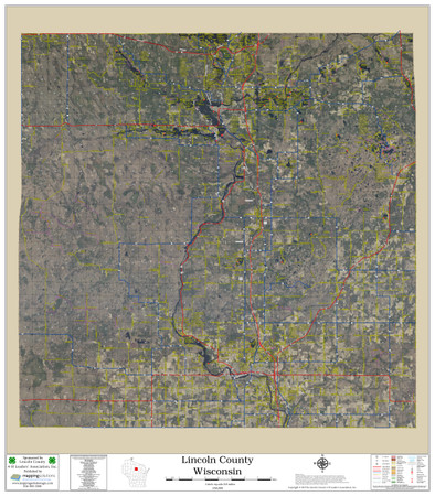 Lincoln County Wisconsin 2019 Aerial Wall Map