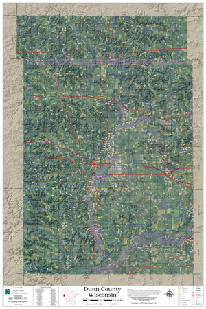 Dunn County Wisconsin 2019 Aerial Wall Map