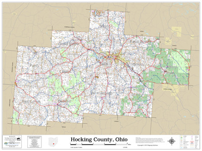 Hocking County Ohio 2019 Wall Map