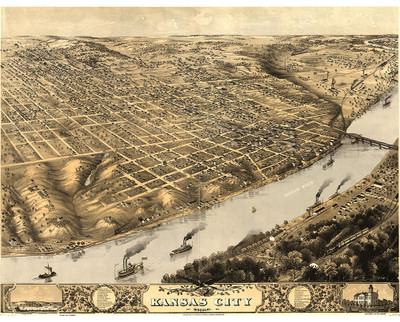 Kansas City,  Missouri 1869 Map