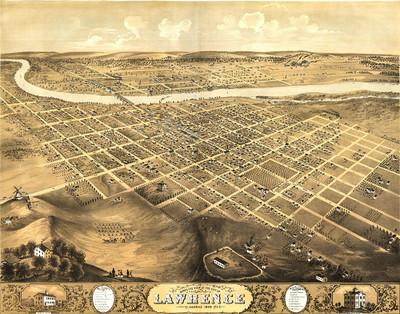 Lawrence,  Kansas 1869 Map