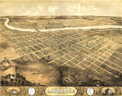 Lawrence,  Kansas 1869 Map
