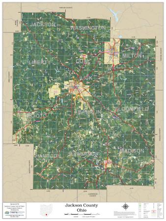 Jackson County Ohio 2020 Aerial Wall Map