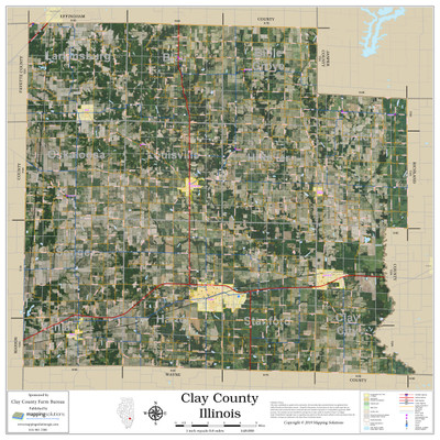 Clay County Illinois 2020 Aerial Wall Map