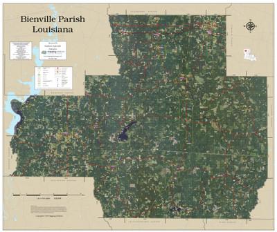 Bienville Parish Louisiana 2019 Aerial Wall Map