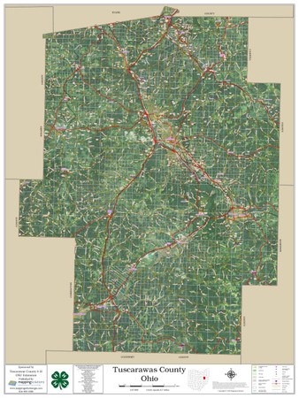 Tuscarawas County Ohio 2020 Aerial Wall Map