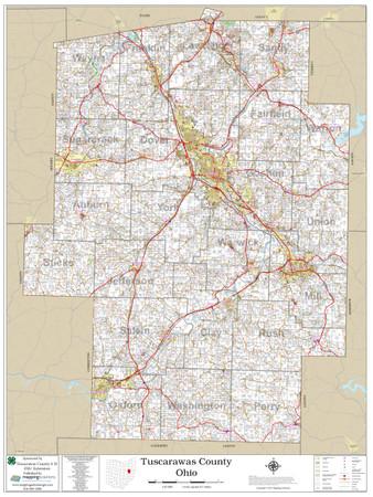 Tuscarawas County Ohio 2020 Wall Map