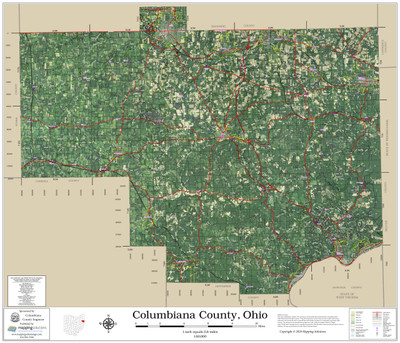 Columbiana County Ohio 2020 Aerial Wall Map