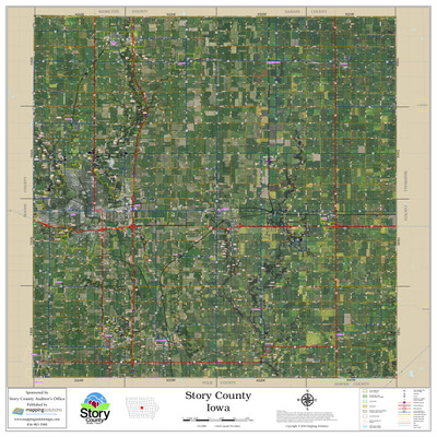Story County Iowa 2020 Aerial Wall Map