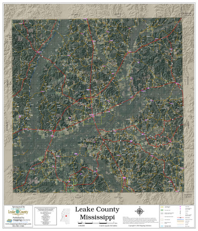 Leake County Mississippi 2020 Aerial Wall Map