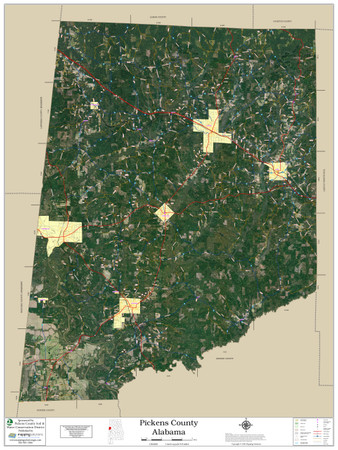 Pickens County Alabama 2020 Aerial Wall Map