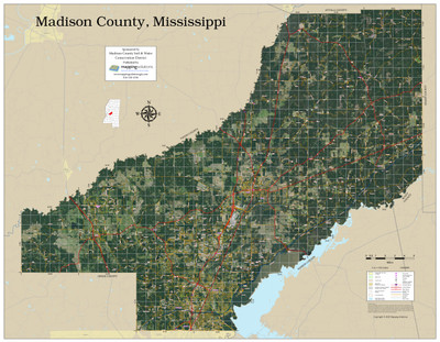 Madison County Mississippi 2020 Aerial Wall Map