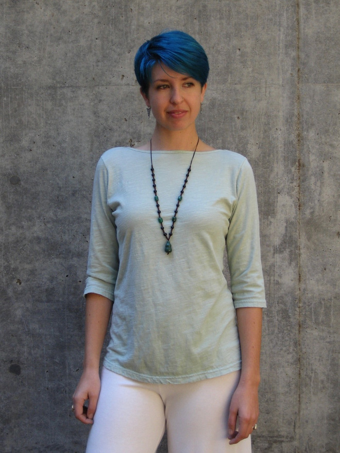 3/4-Sleeve Slub Top (Seafoam from a previous season), model wears a Medium