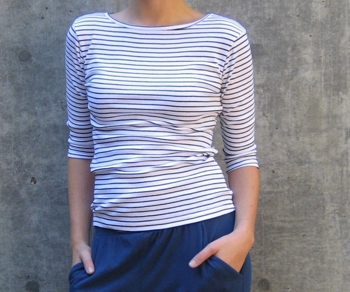 3/4-Sleeve Striped Boatneck - White