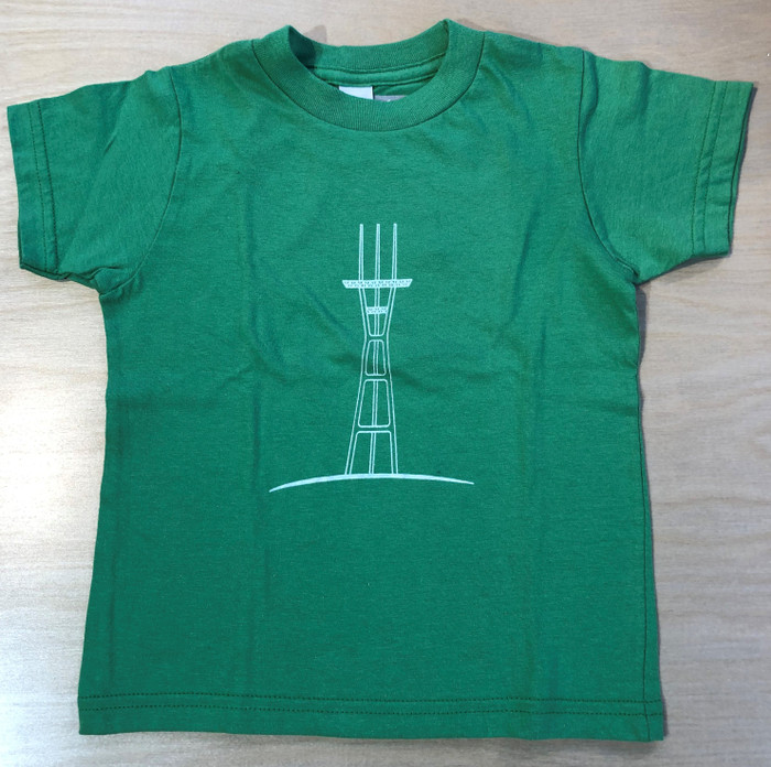 Kid's Tee with Sutro Tower in Light Green