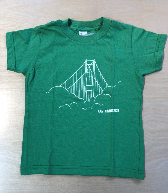 Kid's Tee with Golden Gate print in Light Green