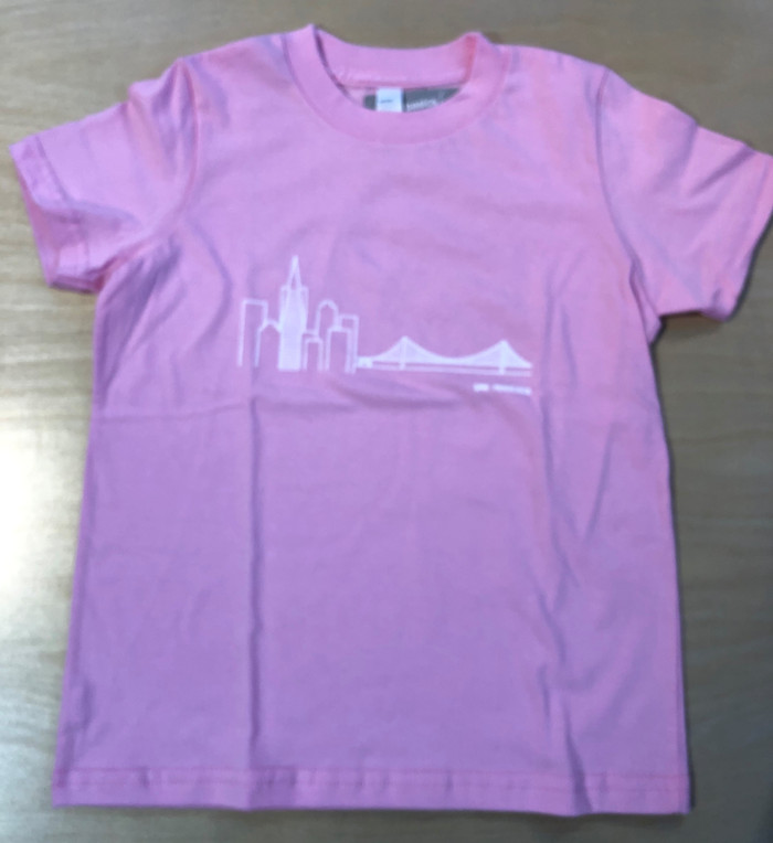 Kids Tee with Skyline, in Pink