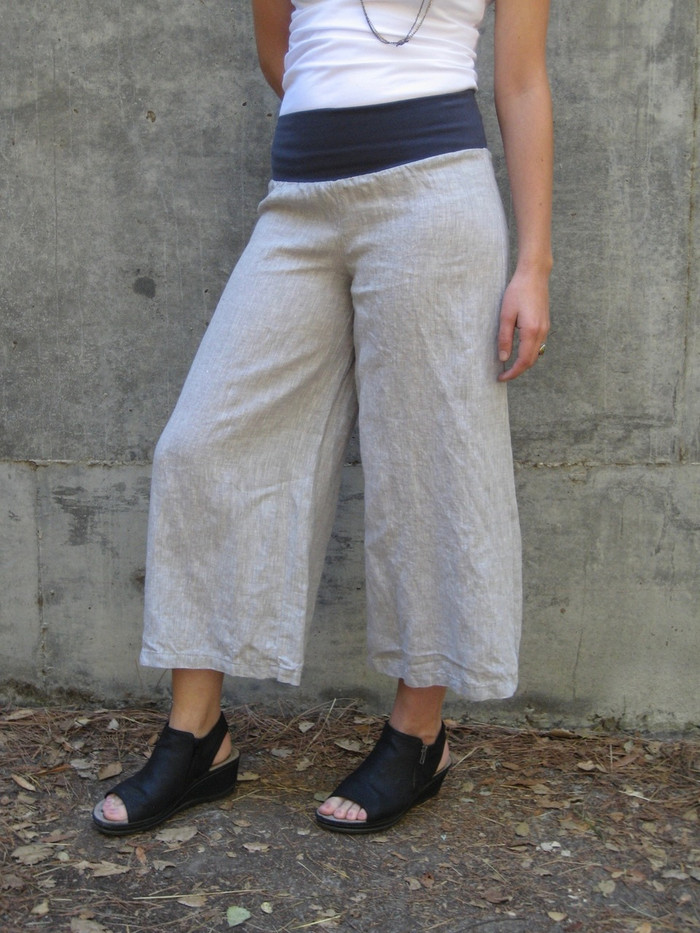 Rachel in medium Calypso Linen Pant - Light Gray