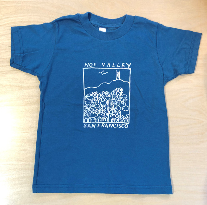 Kid's Tee with Noe Valley drawing, in Galaxy Blue
