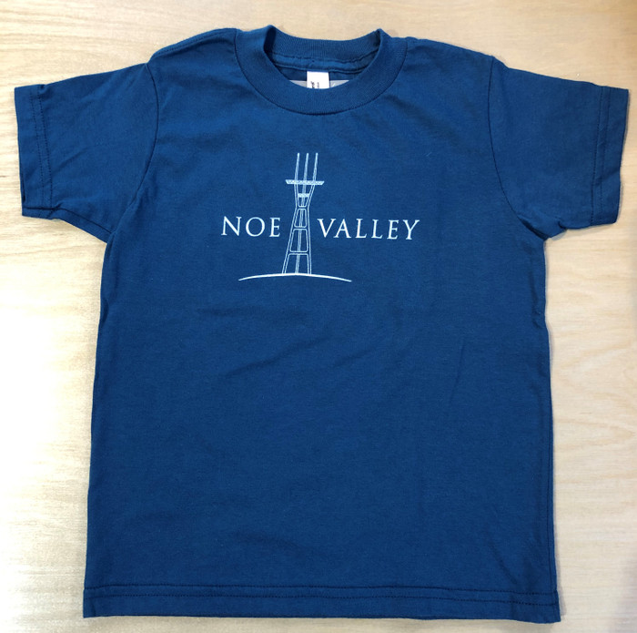 "Kid's Tee with Sutro Tower and ""Noe Valley"", in Galaxy Blue"