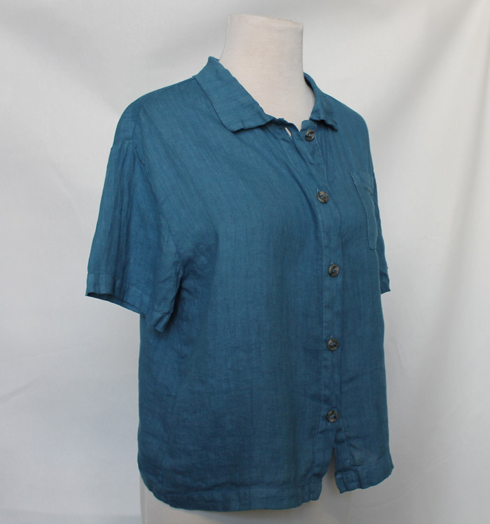 Nicole button down - side view - in Denim Blue