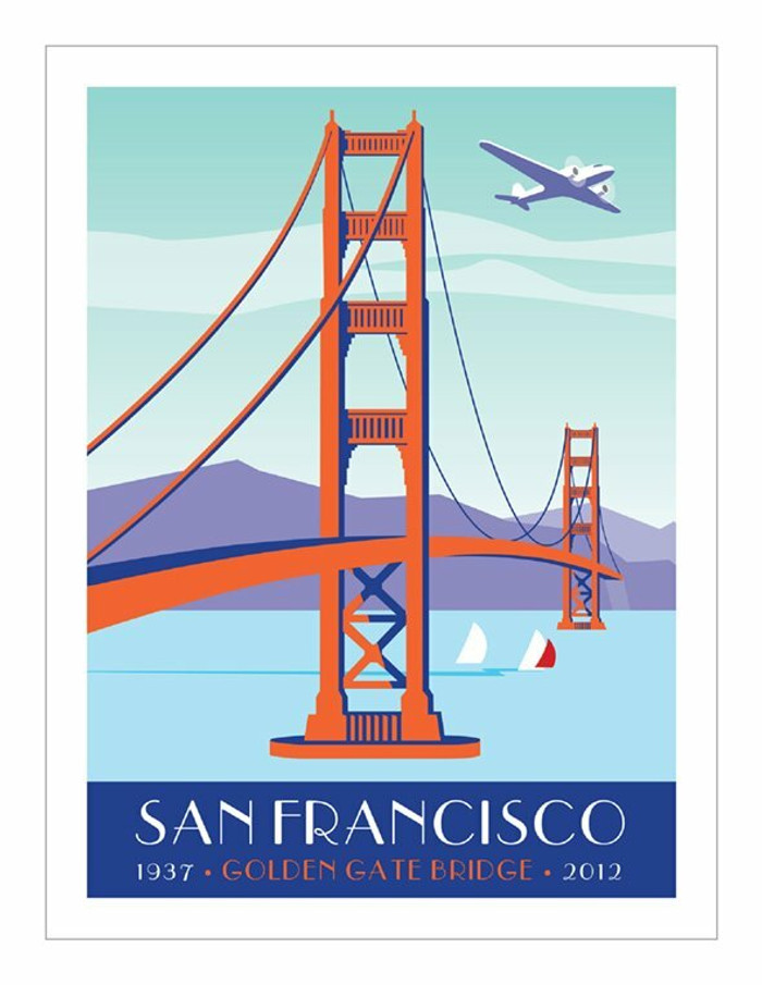 "Poster - Golden Gate and Plane - 8""x10"""