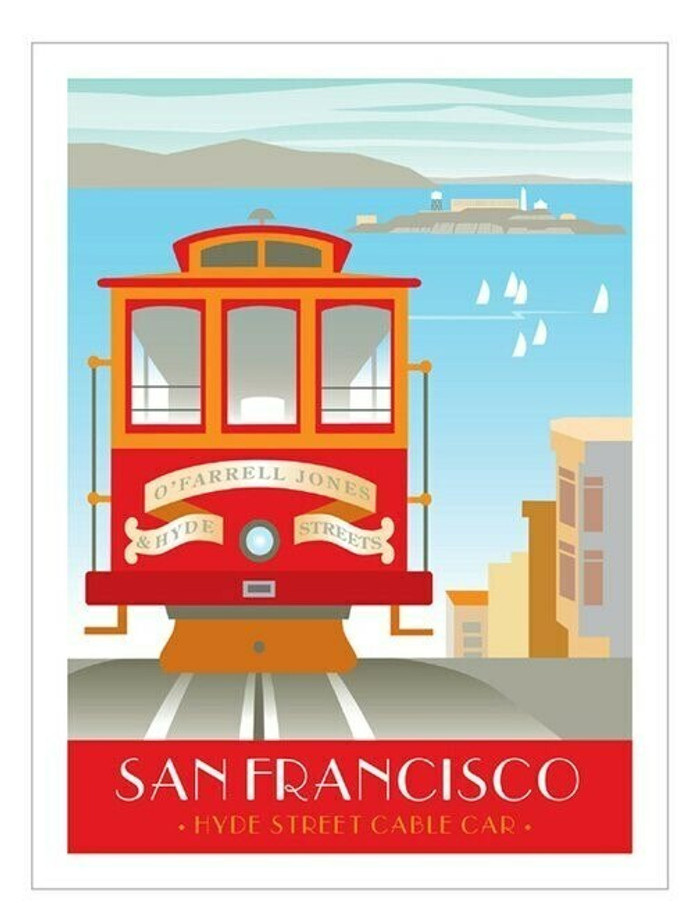 "Poster - Cable Car and Alcatraz - 18""x24"""