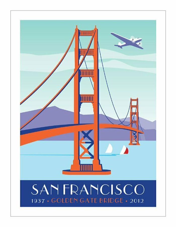 "Poster - Golden Gate and Plane - 18""x24"""
