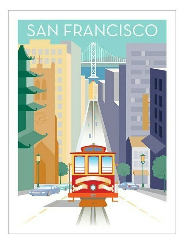 "Poster - California Street and Cable Car - 18""x24"""