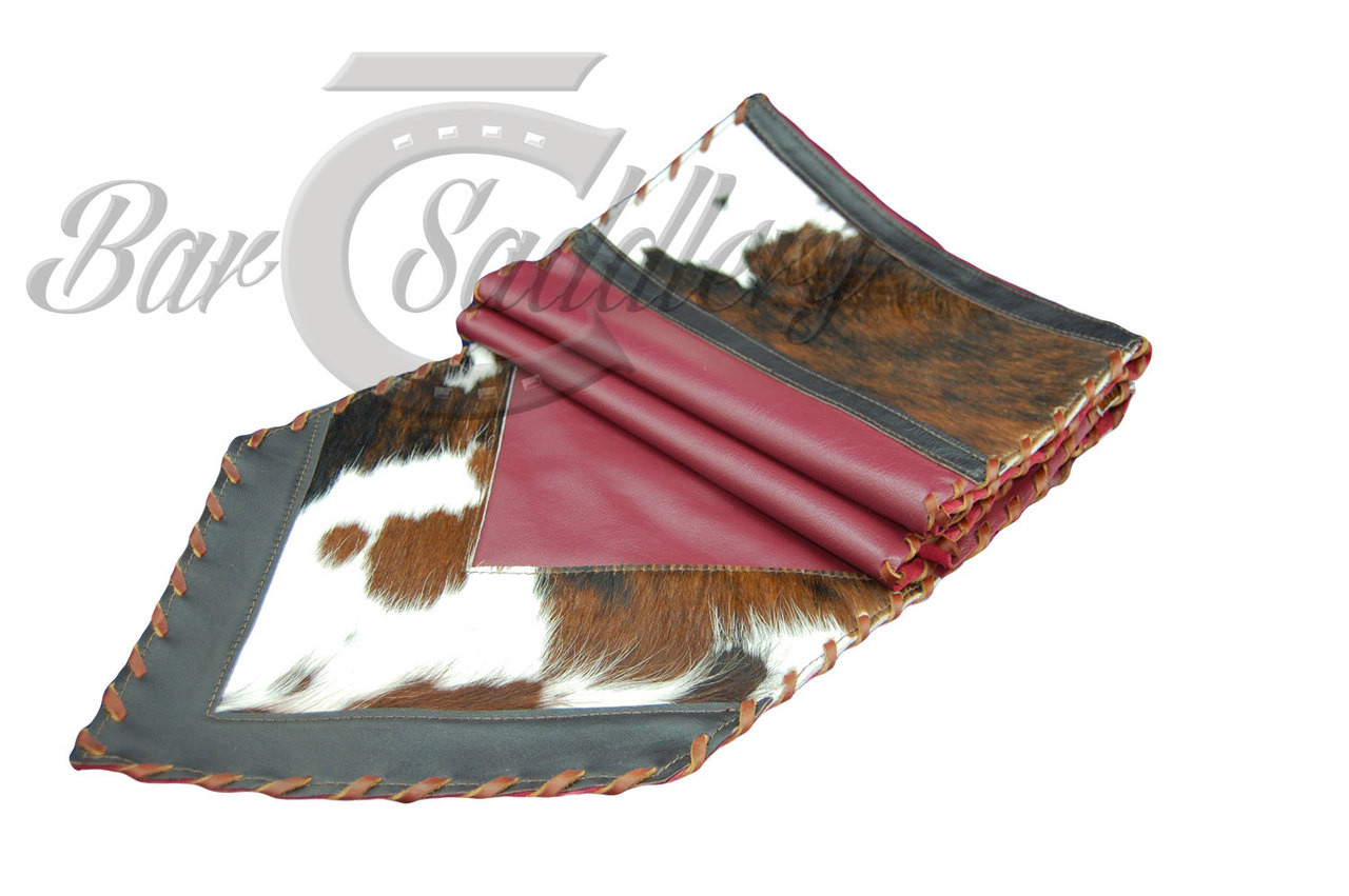Ordinaire Genuine Leather Table Runner With Hair On Tri Colored Hide