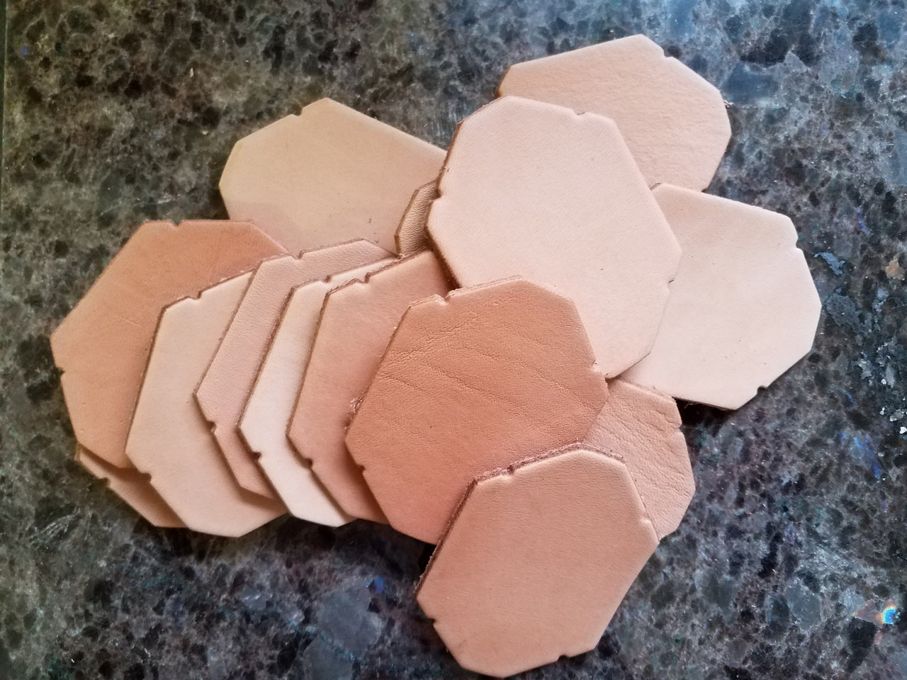 Bulk Leather Octagon - Key Fob / Tag (10 pack)