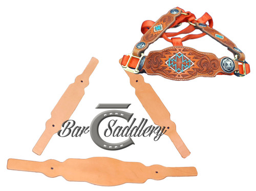 Premium vegetable tanned domestic steer hide tooling leather horse halter tack blanks nose band and cheeks set