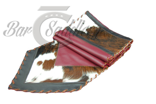 Genuine leather table runner with hair-on tri-colored hide