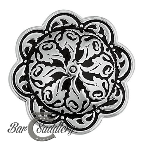 Floral Concho Stainless Steel with Black Accents