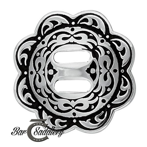 Stainless Steel Floral Slotted Concho Black Accents
