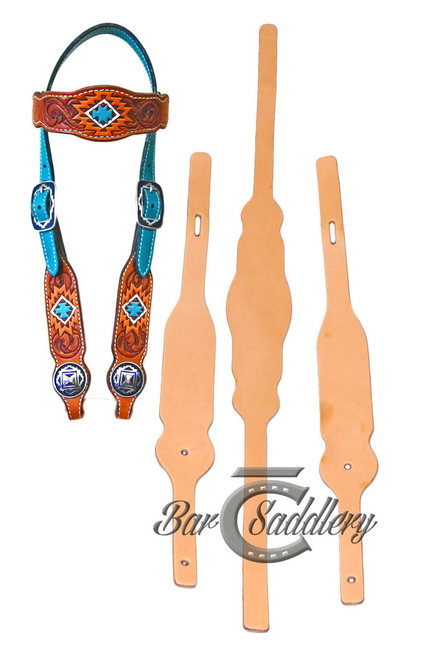 Browband headstall blanks 3 pc premium die cut leather - straps not included     --- Completed headstall sample