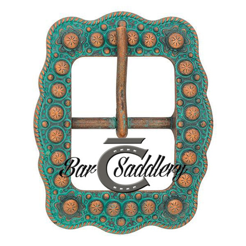 Engraved, rope edge, scalloped turquoise copper center bar buckle
