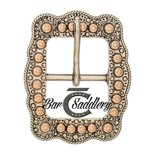 Engraved, rope edge, scalloped old silver copper center bar buckle