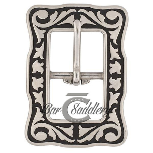 Stainless Steel Horse Shoe Brand with Black accents center bar buckle