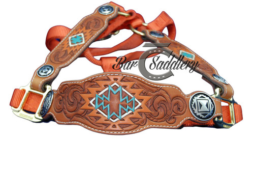 Hand Tooled Horse Halter Standard - Aztec Orange
