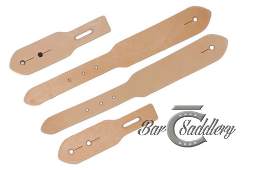 Tapered belt style spur strap leather blanks - 4 piece