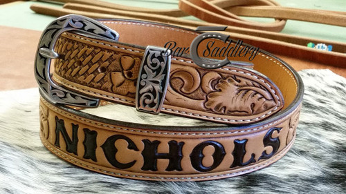 Custom tooled and stamped with hand tooled and dyed lettering