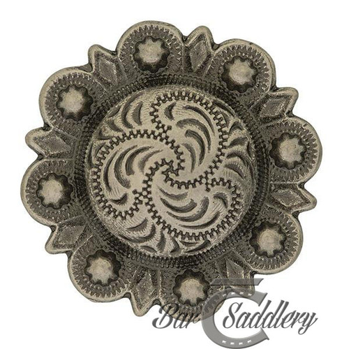 Antique silver berry engraved western concho